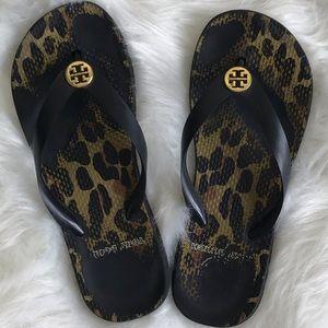 Tory Burch Leopard Black Flip Flop Sandals Size 7